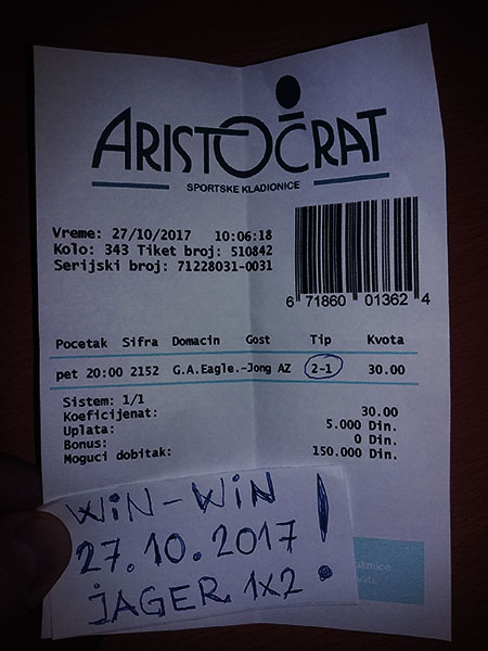 WIN TICKET FROM YESTERDAY/ FRIDAY 27.10.2017