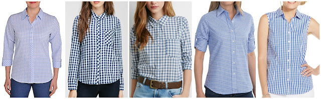 Allison Daley Plaid Print Pucker Weave Shirt $13.30 (regular $38.00) also in plus size  Forever 21 Gingham Patterned Shirt $18.09 (regular $22.90)  Forever 21 Gingham Pocket Shirt $19.90  Boast USA Oxford Shirt $29.96 (regular $39.95)  Charter Club Sleeveless Gingham Button Down Shirt $39.99 (regular $54.50)
