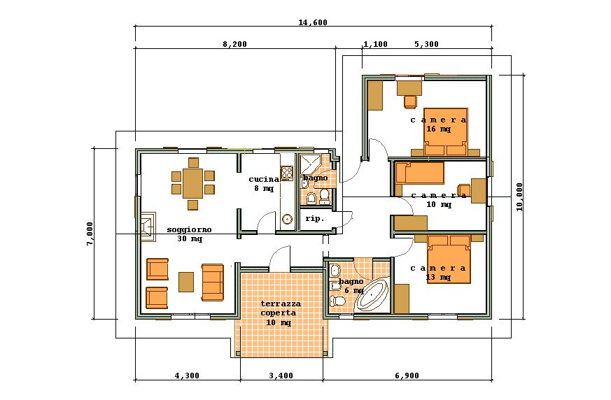 Progetti di case in legno casa 110 mq portico 10 mq - Planimetria casa 60 mq ...