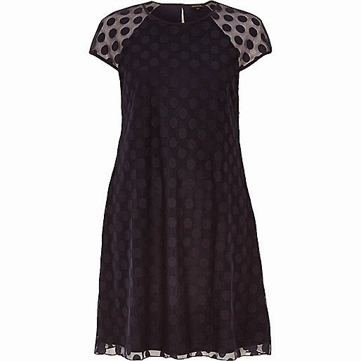 river island navy spot dress