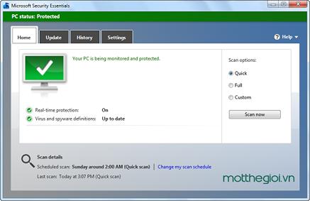 Diệt virus hiệu quả với Microsoft Security Essentials