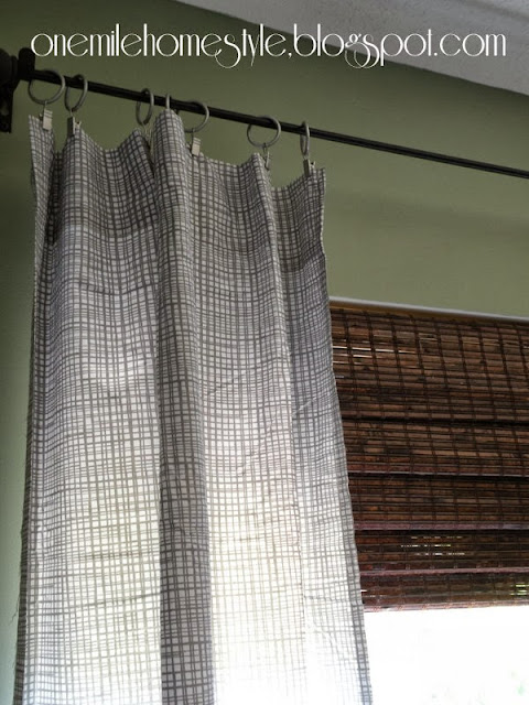 No sew curtains from a bedsheet - gray curtains