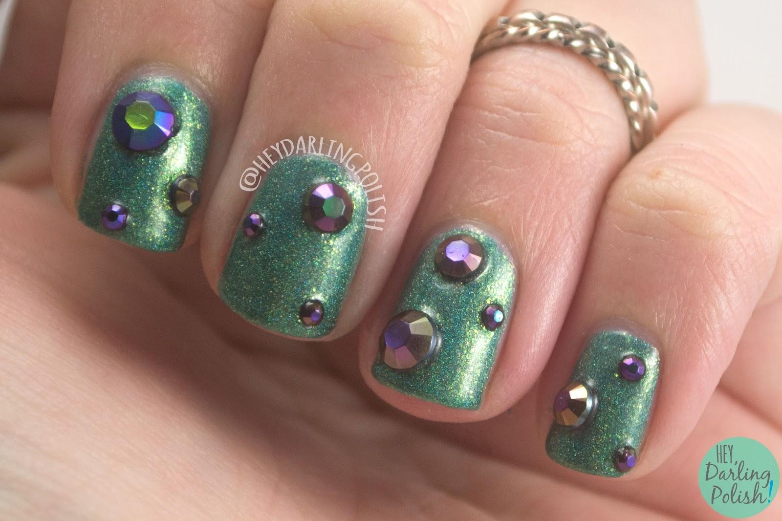 nails, nail art, nail polish, lynbdesigns, born pretty store, rhinestones, holo, hey darling polish