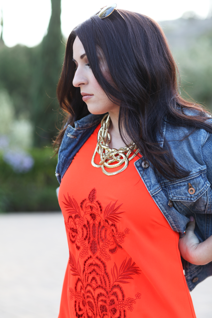 gap-denim-jacket-le-tote-orange-shift-dress-ray-ban-sunglasses-king-and-kind-blog-san-diego-2014-outfit-ideas