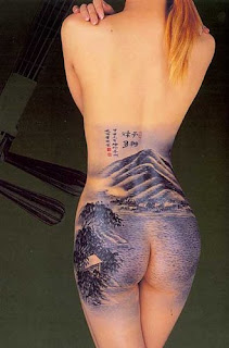Nature Themed Tattoo Design on Girls Buttocks