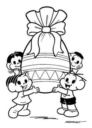 desenhos pra colorir A Páscoa da Turma da monica