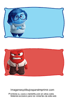 personajes tristeza, ira en etiquetas