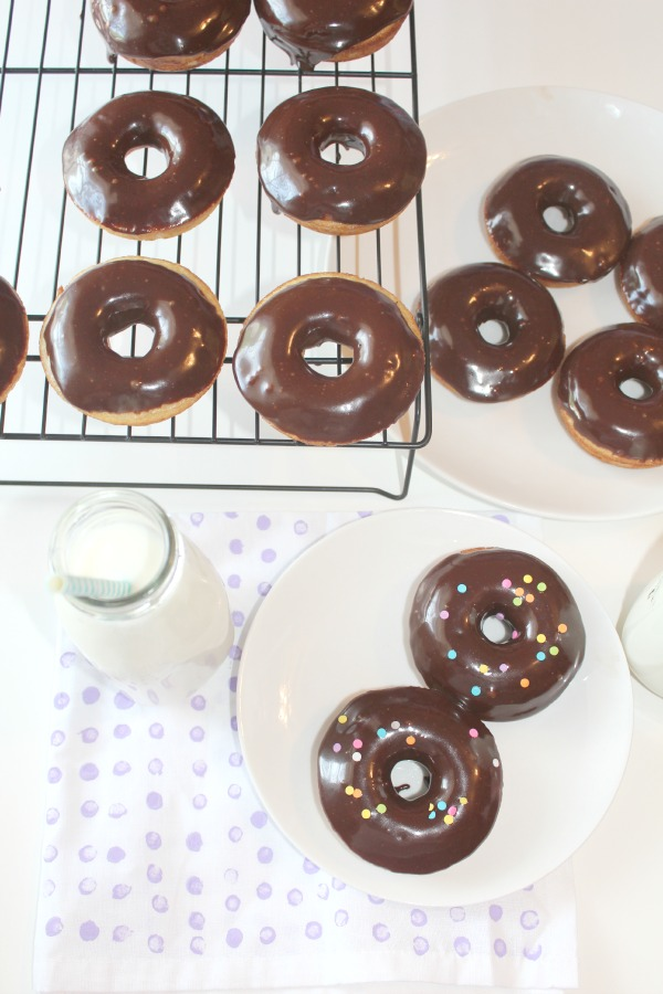 baked chocolate frosted donuts