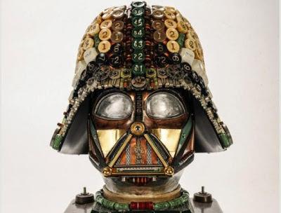 art, steam-punk, Darth Vader mask, Star Wars, antique typewriter