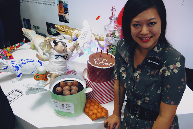 Kitty N. Wong at Crocodile Detour Growing up in Hong Kong event paper mache doll tea eggs waffle