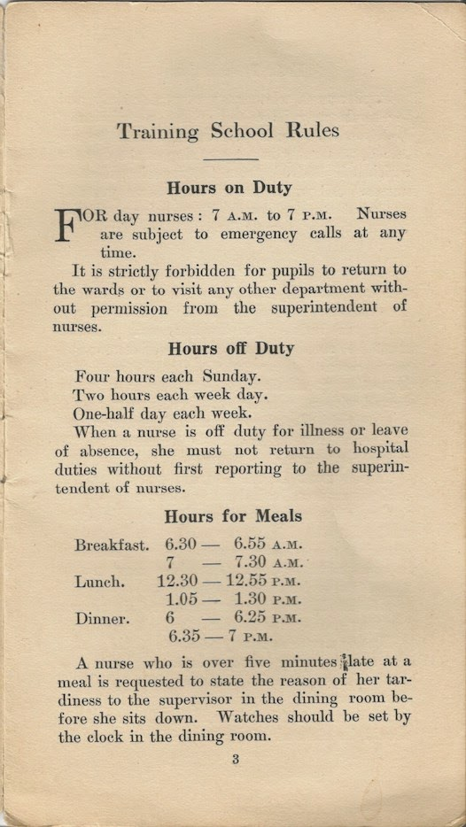 Nurse Training School Manual early 20th century rules