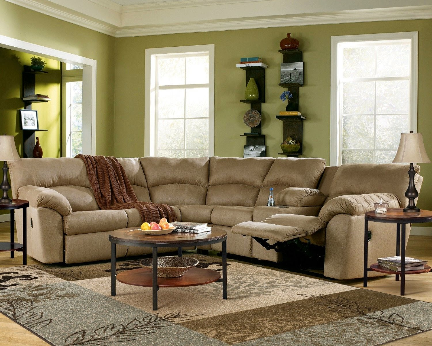 Reclining Sofa Sets Sale: Curved Leather Reclining Sofa And