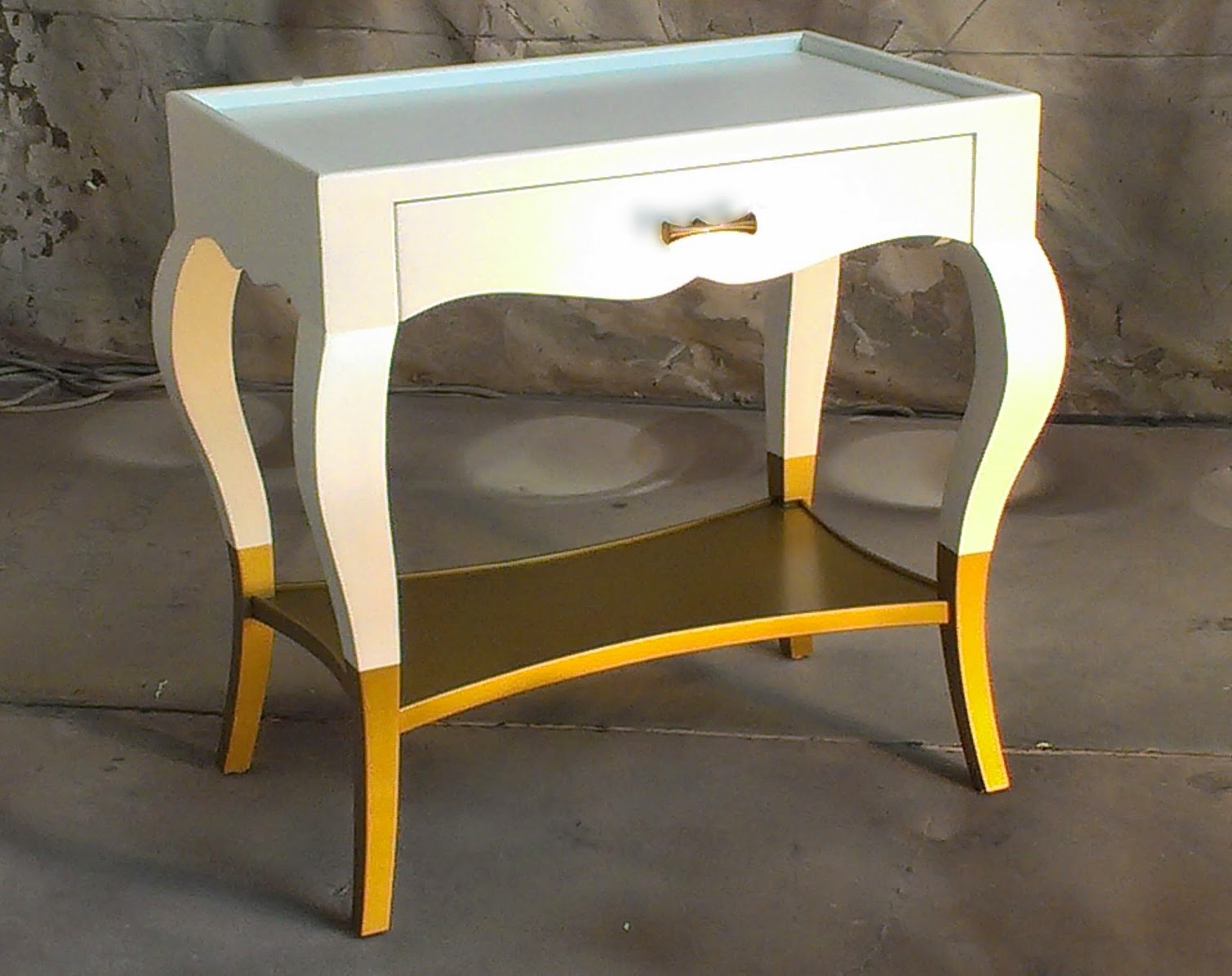 Sydney Barton Painted Furniture White And Deep Gold Side Table