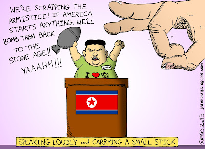 kim jong un standing at podium north korean flag t shirt i love heart nukes waving missile were scrapping the armistice if america starts anything well bomb them back to stone age yaaahh giant hand fingers about to flick