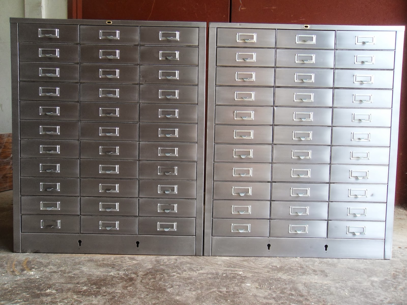 Wonderful Pair Of 33 Drawer Form File Cabinets From Cole Steel. Stripped Steel Bodies  With A Satin Clear Coat. Jondcourt@gmail.com
