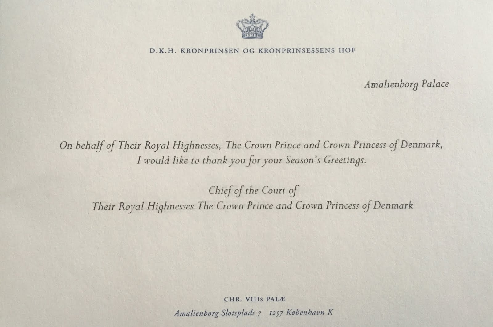 Gerts royals crown prince frederik and crown princess mary the only real way to tell the difference between this reply and last years christmas reply is the date on the postmark and the spacing of the message kristyandbryce Gallery