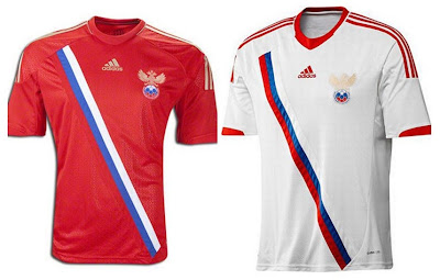 Russia Home+Away Euro 2012 Kits (Adidas)