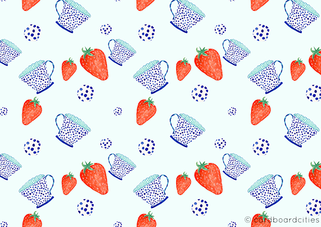 pattern with polka dot teacup and strawberries painted with watercolours