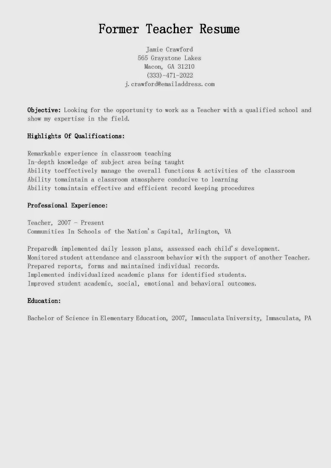 Resume Samples Former Teacher Resume Sample