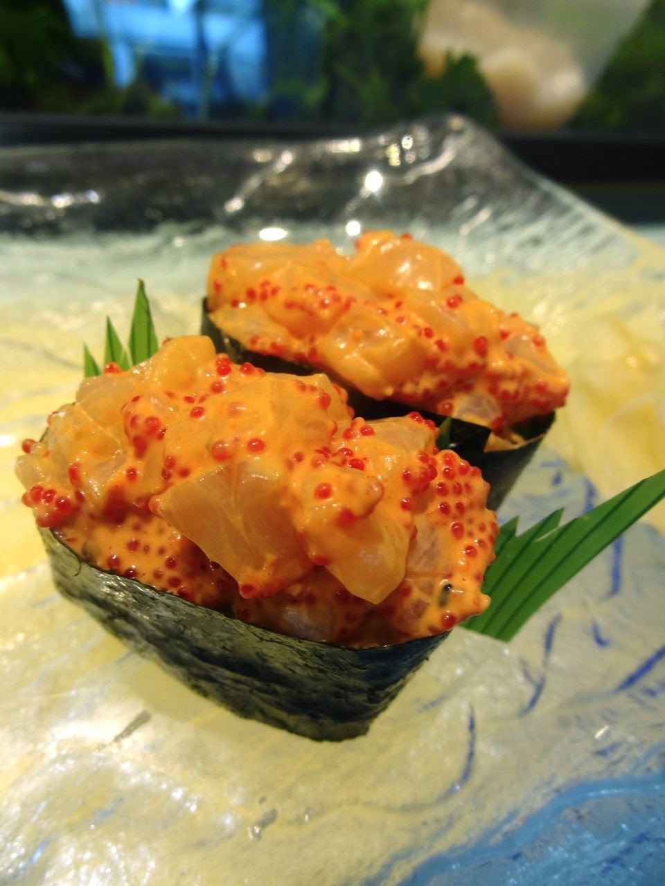 Spicy Hotategai Nigiri Sushi: spicy chopped scallop and fish roe with ...