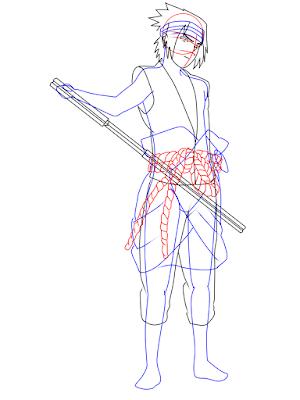 menggambar sasuke uchiha black costume langkah 16