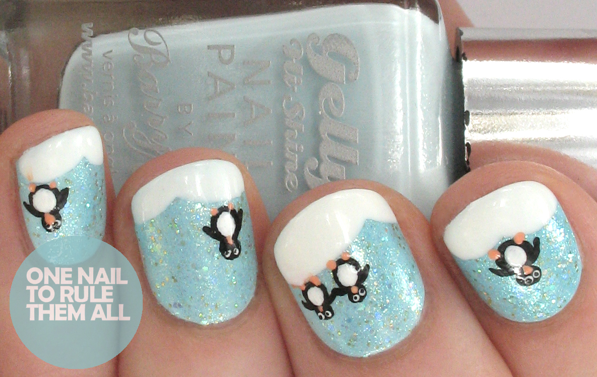 One nail to rule them all penguin snowscape for tesco tutorial penguin nails before so i knew i had to do some this year and i decided to create some in collaboration with beauty at tesco steps are after the jump prinsesfo Choice Image