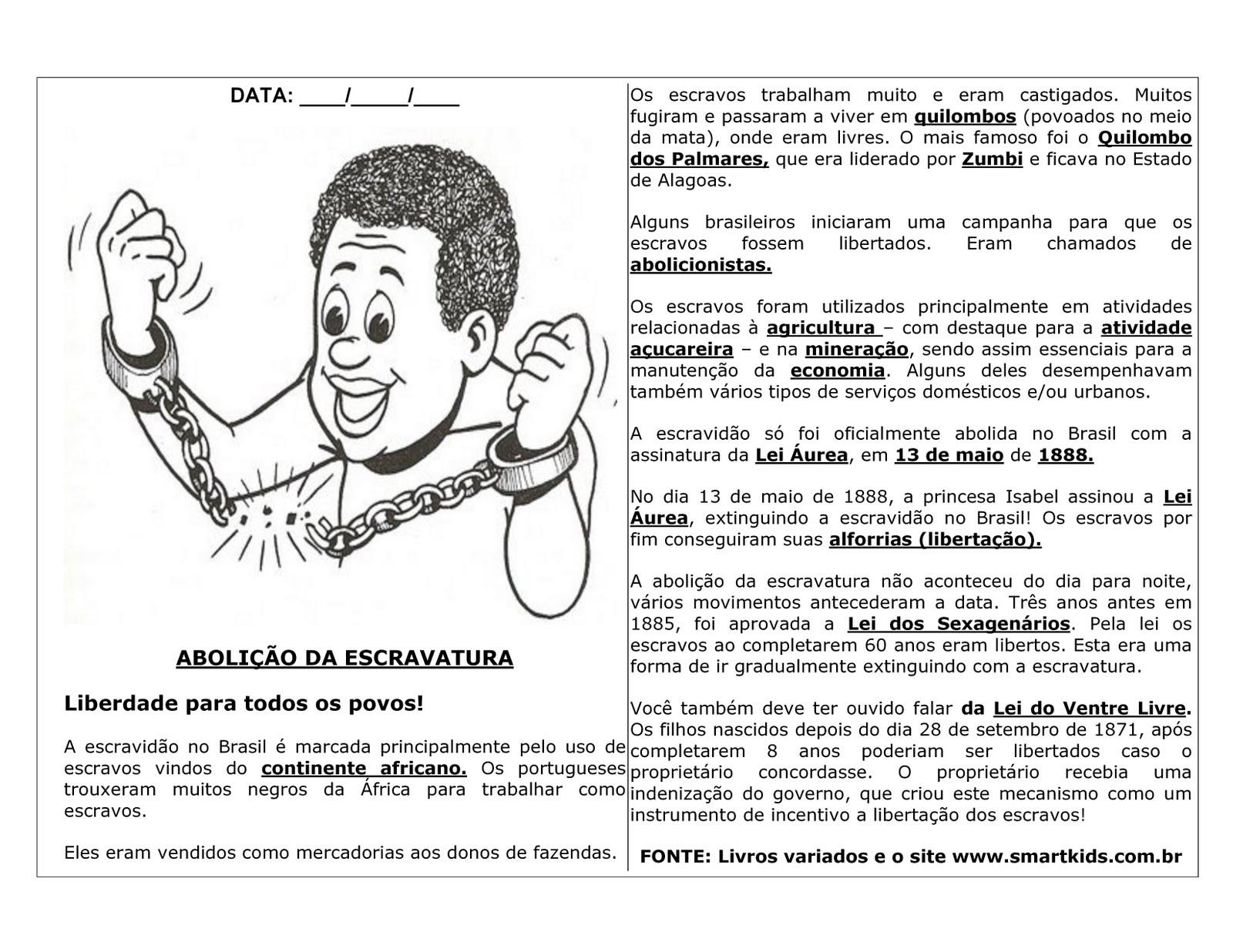 ABOLI    O DOS ESCRAVOS ATIVIDADES EXERC  CIOS DESENHOS COLORIR