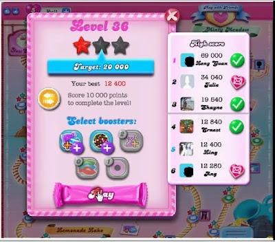 我怎么打 : 糖果粉碎传奇第36关 Candy Crush Saga Level 36
