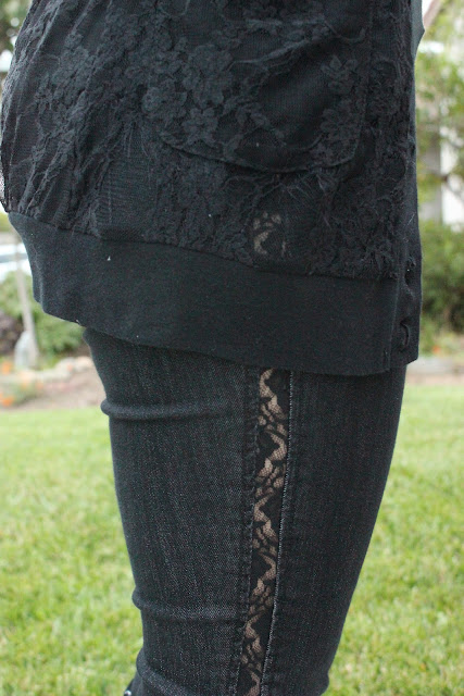 Lace Cardigan and Lace Lined Jeans