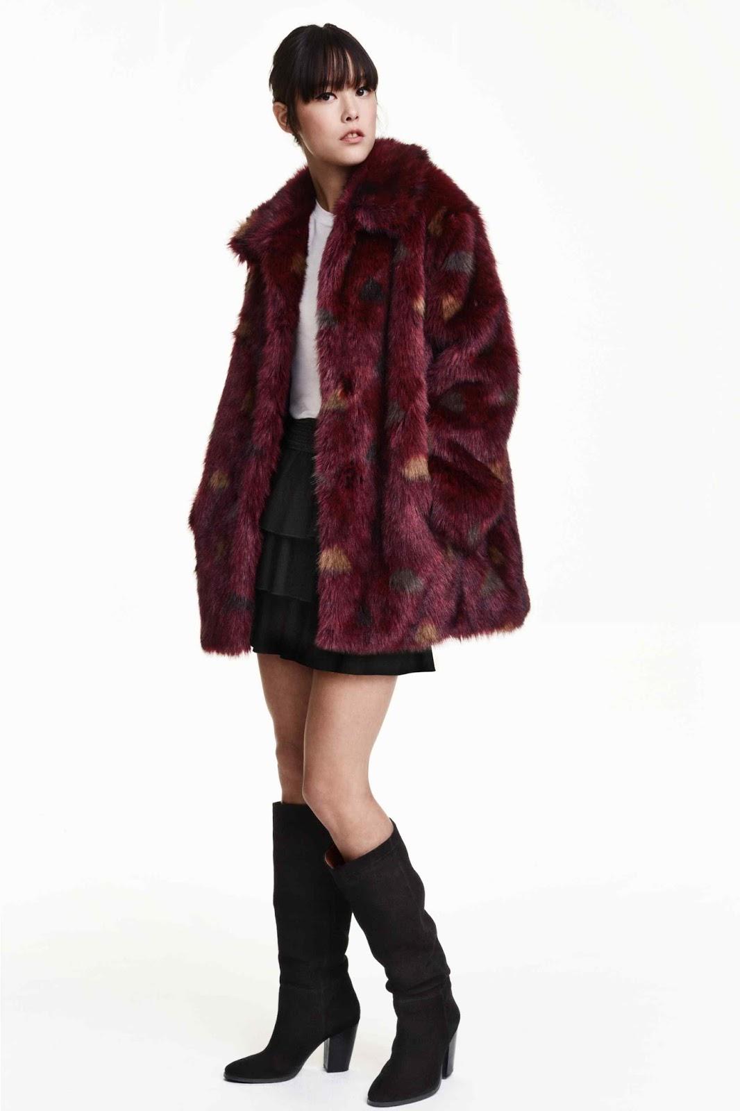 Abrigo pelo rojo h&m