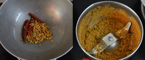 preparing vegetable curry podi
