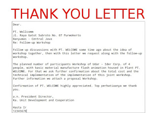 Letter thank you business