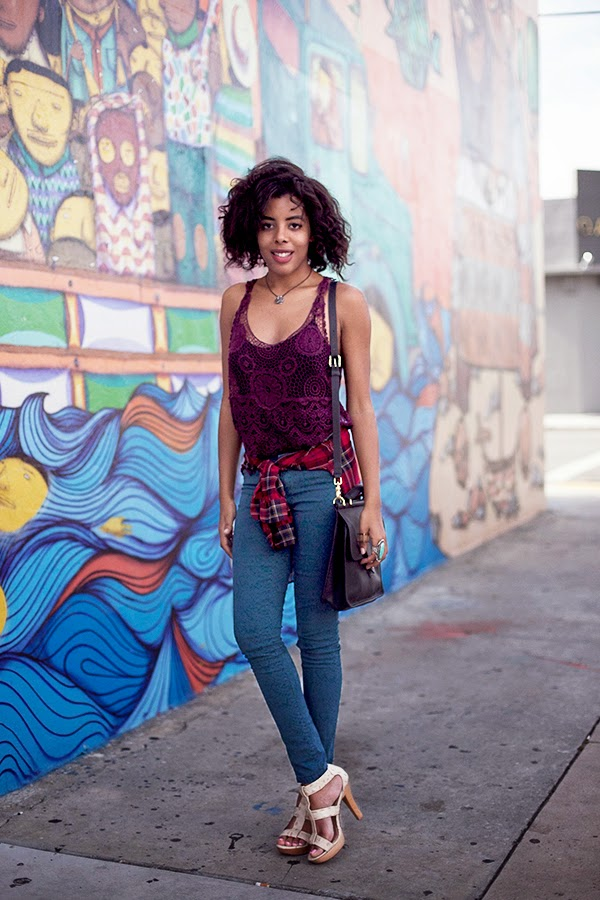 Miami Fashion and Indie Culture Blogger Anais Alexandre of Down to Stars in a vintage crochet top and plaid shirt with Mossimo snakeskin teal pants and Chinese Laundry heels