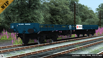 Fastline Simulation - Carflats: An FVV carflat to diagram 1/131 in Rail Blue livery with vacuum brakes, taller sides with removable sections with wooden ends and Motorail branding.