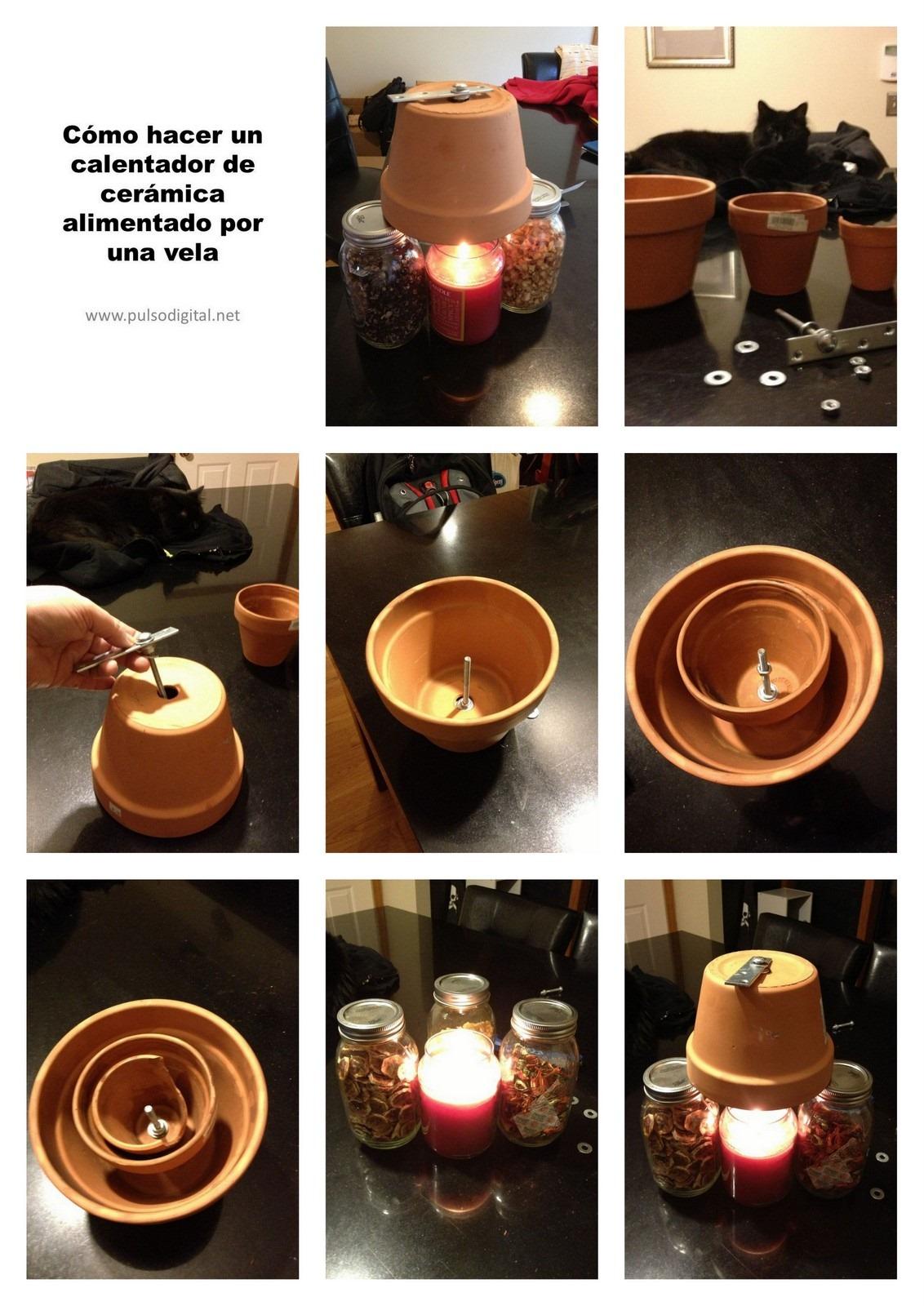 Cómo hacer un calentador de cerámica alimentado por una vela