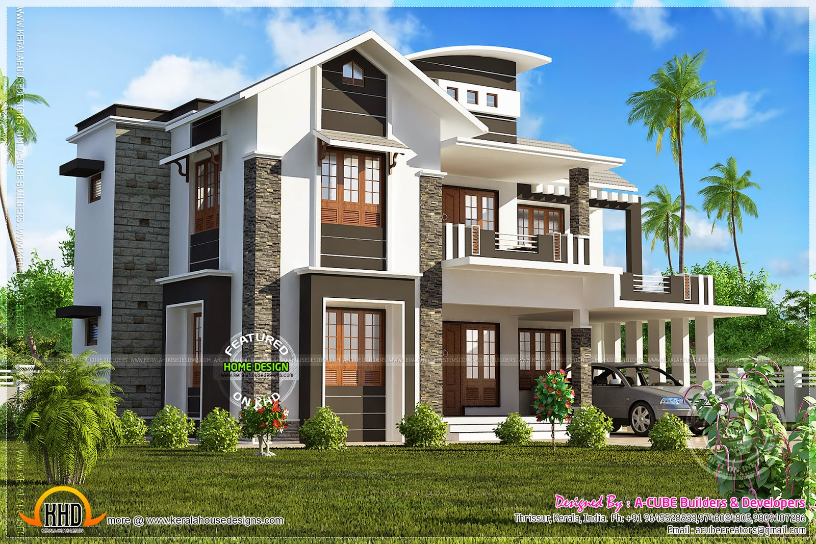 June 2014 kerala home design and floor plans for Square house design