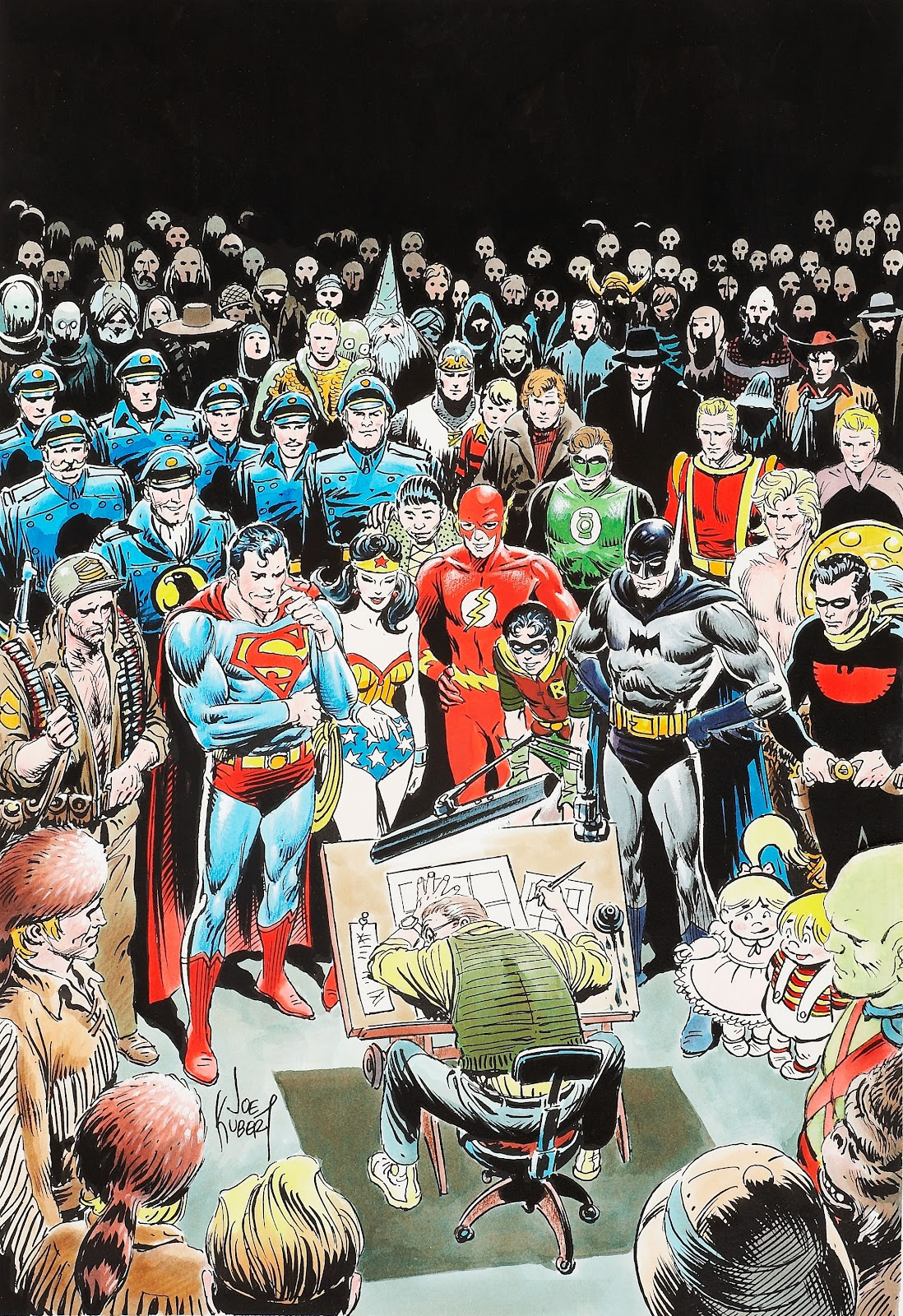 """Joe Kubert's Self """"Portrait"""" Surrounded by Many of the Characters He Illustrated"""