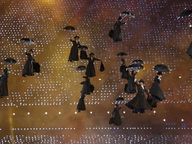 Performers dressed as character Mary Poppins descend to ground during opening ceremony of London 2012 Olympic Games at Olympic Stadium REUTERS/MIKE BLAKE
