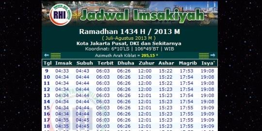 Jadwal Imsakiyah Ramadhan 1434 H Tahun 2013