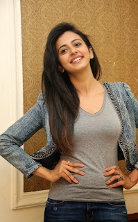 Actress Rakul Preet Singh Pictures in Jeans at Rough Movie Success Meet  41