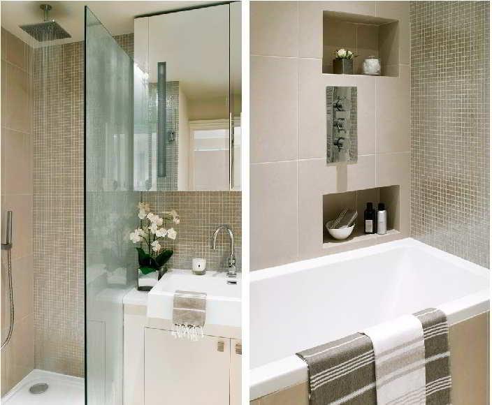 Banheiros com pastilhas  37 modelos decorados  Decor Alternativa -> Banheiro Decorado Com Gabinete De Vidro