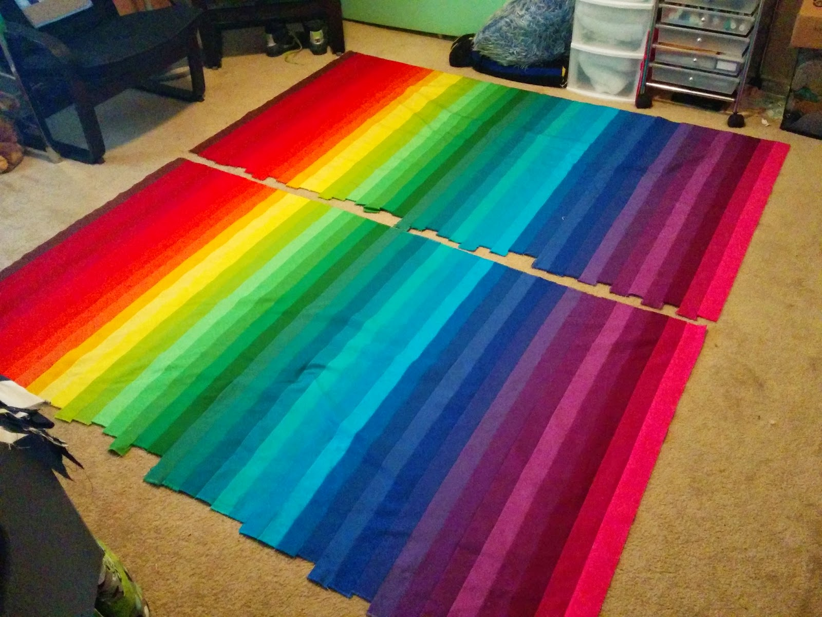 Lets quilt something rainbow bargello jelly roll kona roll up next you will take the bottom row and sew it to the top row with right sides together by doing this you will form a tube like fabric strip baditri Images