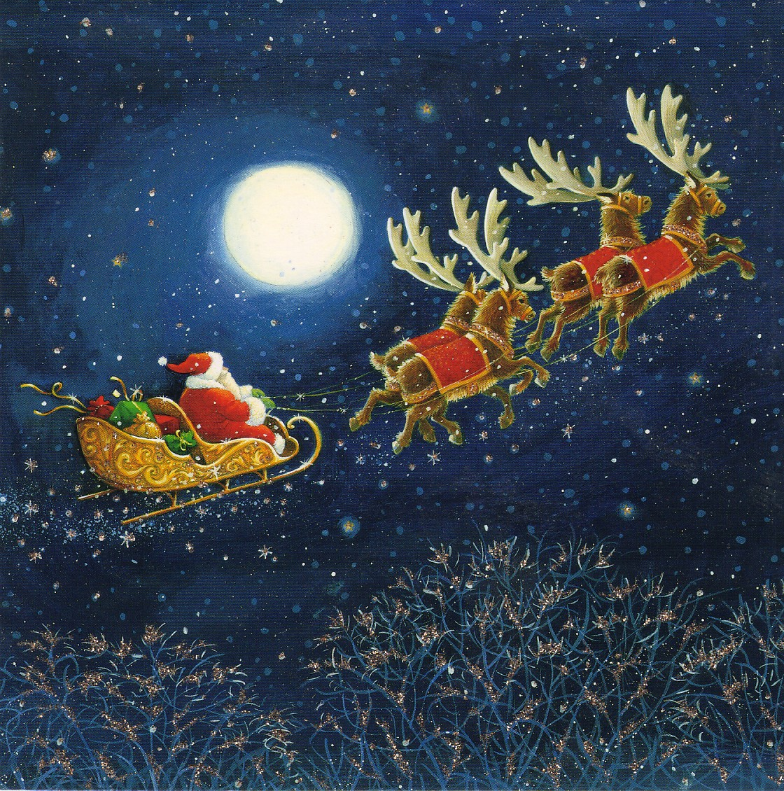 Santa Claus Flying In His Sleigh Santa claus still busy on his