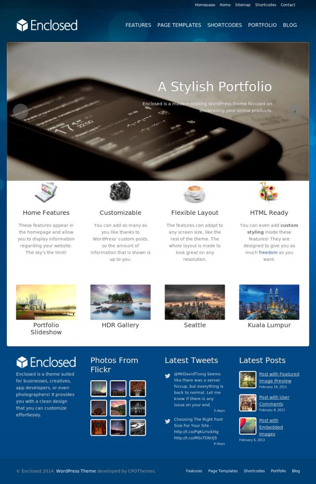 Enclosed Free Portfolio WordPress theme