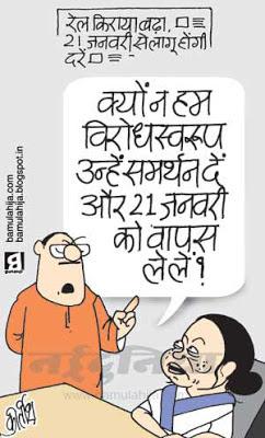 mamata banerjee cartoon, indian railways, rail fares, upa government, congress cartoon, TMC, indian political cartoon