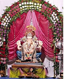Flower decoration for ganpati festival at home by flowers for Background decoration for ganpati
