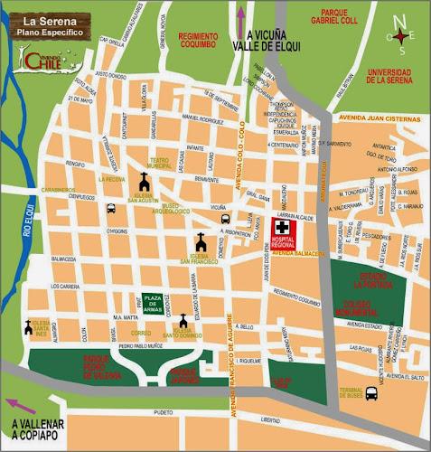 Mapa do centro de La serena