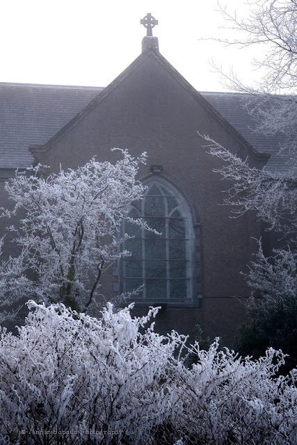 the church, Oughterard, frost