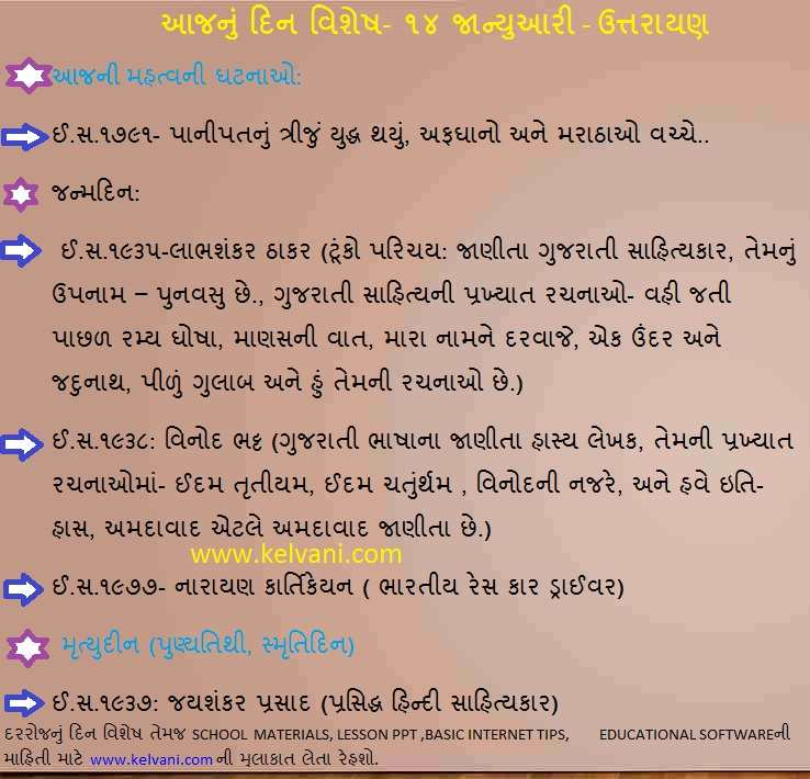 TODYAS HISTORY IN GUJARATI, DINVISHESH BY KELVANI, 14 JANUARY