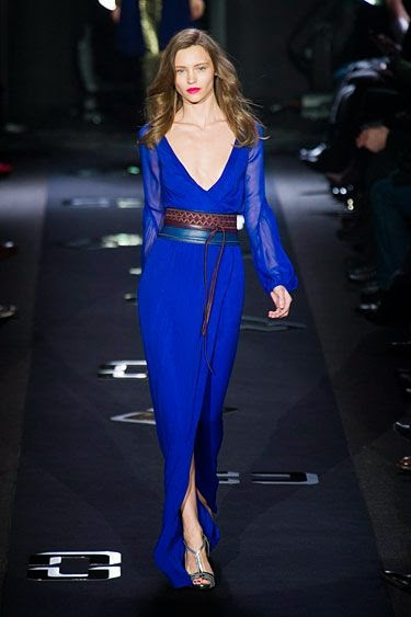 Diane Von Furstenberg NYFW Fall 2013 lovely woman blue dress